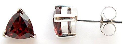14K Solid White Gold Genuine AAA Garnet Trillion cut Stud (Gold Trillion Gemstone Ring)
