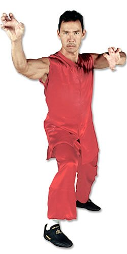 Tiger Claw Kung Fu (Kungfu) Uniform Red Silk Southern Style - Extra Small