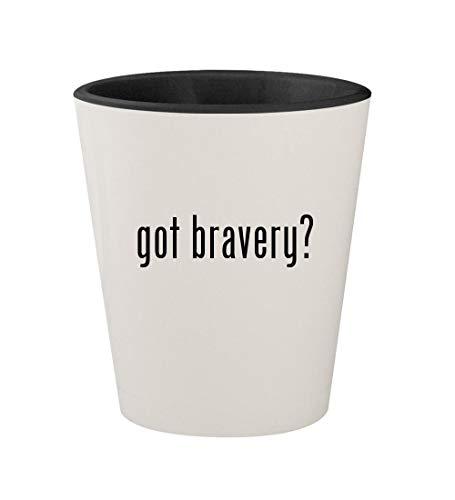 (got bravery? - Ceramic White Outer & Black Inner 1.5oz Shot Glass)