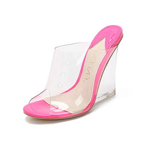 (MACKIN J 405-1 Women's TPU Lucite Clear Wedge Heel Open Toe Slip On Mule Dress Shoe (6.5, NEON Fuschia))