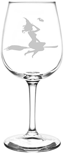 (Witch with Bat) Funny And Scary Happy Halloween Celebration, Decoration, & Novelty Inspired - Laser Engraved 12.75oz Libbey All-Purpose Wine Taster Glasses