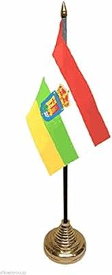 La Rioja español de poliéster de La bandera de España de mesa de 15,24 cm X 10,16 cm Base de oro: Amazon.es: Hogar