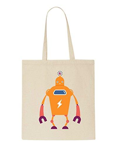 Vintage Beige Bag Shopper Tote Ten Character Robot Full CqxrCwRT