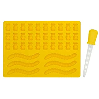 HIC Harold Import Co. 43854 HIC Gummy Bear and Worm Mold with Dropper, Non-Stick European-Grade Silicone, 1 Tray, Yellow