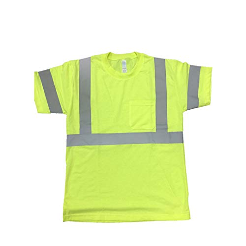 FITIN HIGH Visibility T Shirt ANSI Class 3 Reflective Safety Lime Orange Short Long Sleeve Hi Vis (Green, Large)