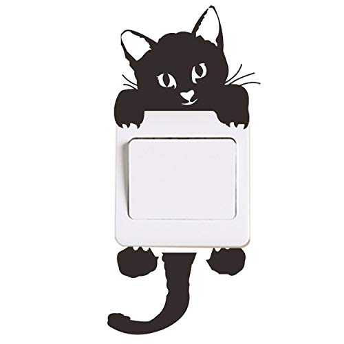 Nurbo Little Black Cat Wall Stickers Light Switch Decor Decals Art Mural Baby Nursery Room Decorations