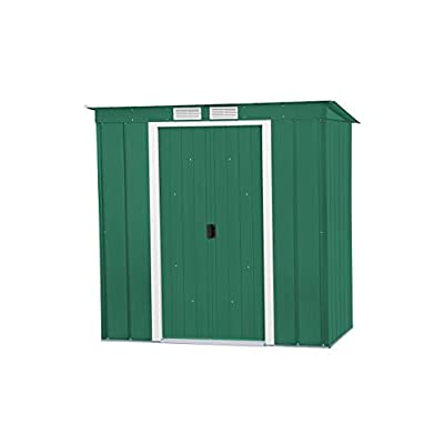 Duramax ECO 6x4 Metal Pent Shed Galvanised Green