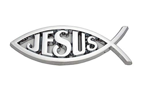 CLA Jesus Christian Fish Symbol Ichthus Chrome Emblem