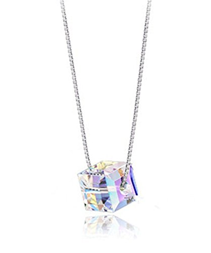 FINE&FOOK S925 Sterling Silver Naked Drill Crystal Cube Rainbow Suncatcher 18inch Necklace (6mm Cube with 0.8mm Chain) (14k 6 Mm Cube)