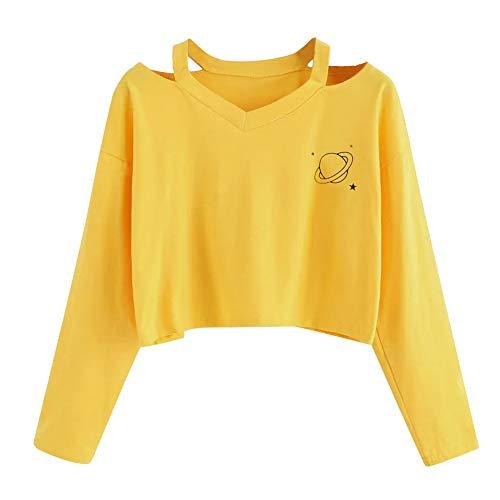 Womens Long Sleeve Casual Planet Simple Style Hoodie Crop Sweatshirt Pockets Drawstring Jumper Hooded Pullover Fleece…