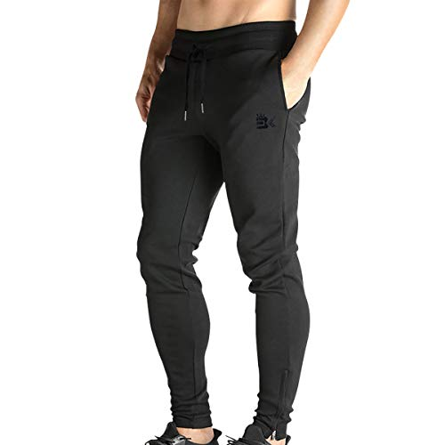 Broki Mens Zip Jogger Trousers – Casual Gym Fitness Tracksuit Bottoms Slim Fit Chinos Sweat Pants (Black)