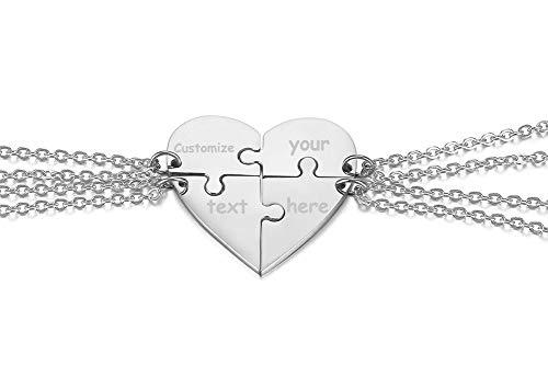 XUANPAI Stainless Steel Personalized Puzzle Necklace 4 Piece Best Friends BFF Friendship Pendant Puzzle Piece Set Heart Pendants,Silver