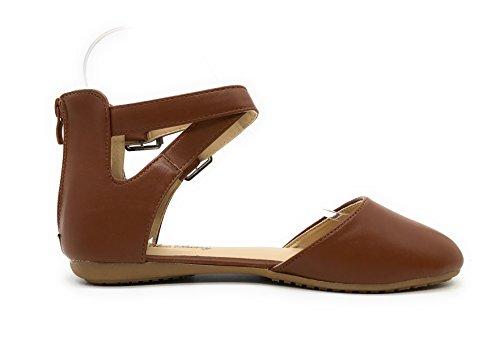 Blaue Berry EASY21 Frauen Casual Flats Ballett Knöchelriemen Mode Schuhe Kastanie