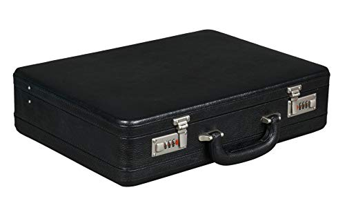 BRAND LEATHER Luxury Combination Lock 1005 Genuine Leather Expandable Business Cum Office Briefcase (Black)