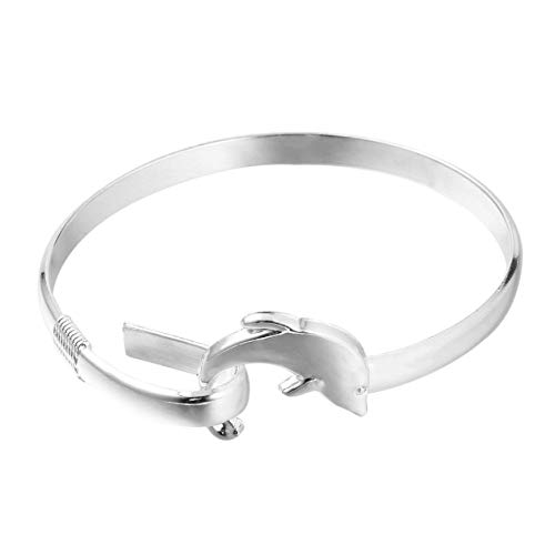 - Trendy Animal Jewelry European Style Fashion Jewelry Silver Color Dolphin Clasp Bangle Bracelet Perfect for Gift