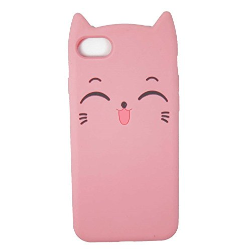 DiDicose iPhone 5 5S 5C Cute Case, iPhone SE Case, 3D Cartoon Animal Pink Smile Cat Kitty Silicone Rubber Phone Case Cover for Apple iPhone 5/5S/5C/iPhone - Hello Case 5s Kitty