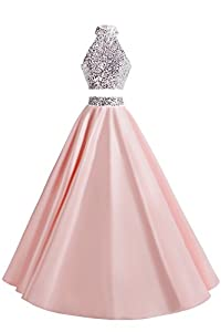 MsJune Women Two Piece Prom Dress Beaded Long Party Gowns Evening Dresses
