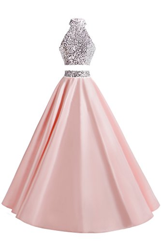 (MsJune Women Two Piece Prom Dress Beaded Long Party Gowns Evening Dresses Pink 2)