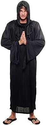 DRESS ME UP - L062/56 Disfraz Hombre Mujer Unisex verdugo brujo mago negro monje demonio culto talla 56/XL