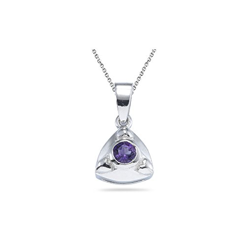 0.20 Ct 4mm AA Round Amethyst Solitaire Trillion-Shaped Pendant-Silver - Valentine's Day Sale