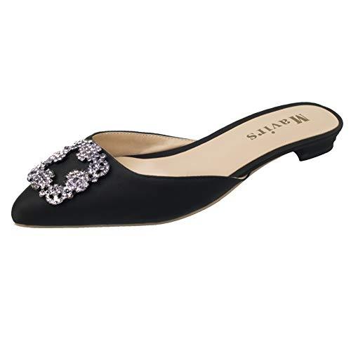 MAVIRS Mule Slippers for Women, Womens Satin Rhinestones Flat Sandals Pointed Toe Jeweled Embellishment Slides Sandals 8M ()