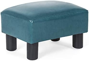 Decent Home Ottoman Footrest Stool Small Pu Leather Modern Square Seat Chair Footstool Teal