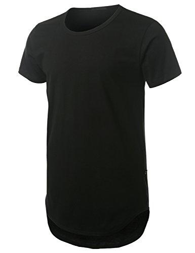 URBANCREWS Mens Hipster Hip Hop Lightweight Longline T-shirt BLACK XXLARGE