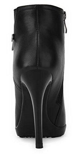 Summerwhisper Women's Dressy Pointed Toe Stiletto High Heel Platform Side Zipper OL Ankle Booties Black 6.5 B(M) US by Summerwhisper (Image #2)