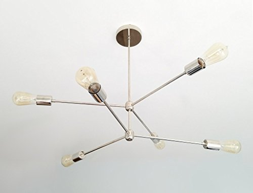 Modern Brass 6 Arm Chandelier - Retro Style Chrome Brass Chandelier Light (Brass Six Arm Chandelier)