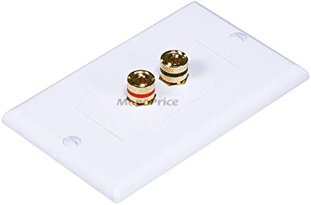 Monoprice 103538 Banana Binding Post Two-Piece Inset Wall Plate for 3 Speakers