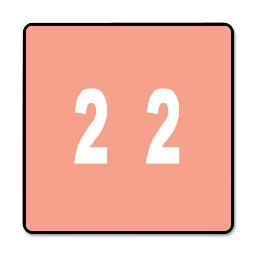 Smead 67422 Pink DCC Color-Coded Numeric Label - 2 - 1.50quot; Width x 1.50quot; Length - 250 / Roll - 250/Roll - Pink