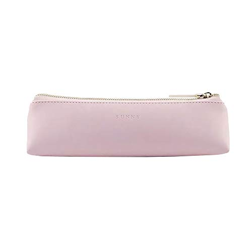 Doraking Pencil Bag Pen Case Cosmetic Makeup Bag Pen Pencil Stationery Pouch Bag Case/PU Leather Small Pencil Pouch Students Stationery Pouch Zipper Bag for Pens, Pencils, Markers (Pink)