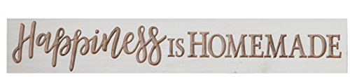 Happiness is Homemade Whitewash 24 x 3.5 Solid Wood Carved Barnhouse Block Sign (Homemade Decor)