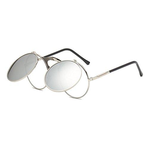 1c04c80f6e Unisex Nueva Moda Populares Retro Redondo Flip Gafas De Sol Steampunk Marea  Hombres Y Mujeres Gafas