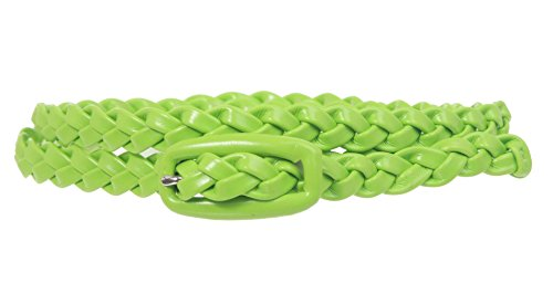 (1/2 Inch Braided Skinny Belt Size: M/L - 36 Color: Lime Green)