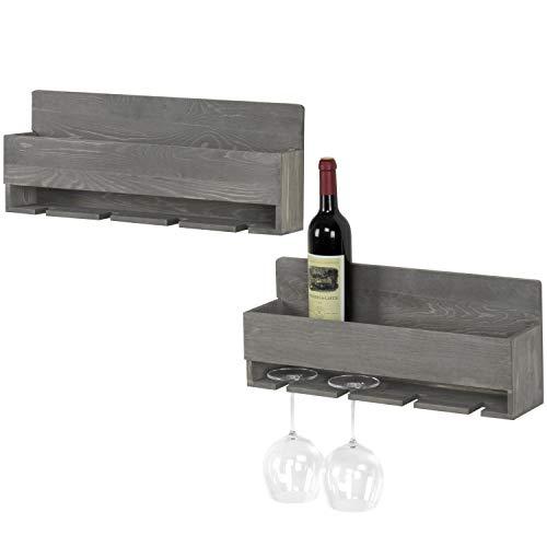 MyGift Barnwood Gray Wall-Mounted Wine Glass & Bottle Racks with 4 Stemware Slots, Set of - Wine Glass Racks Wall