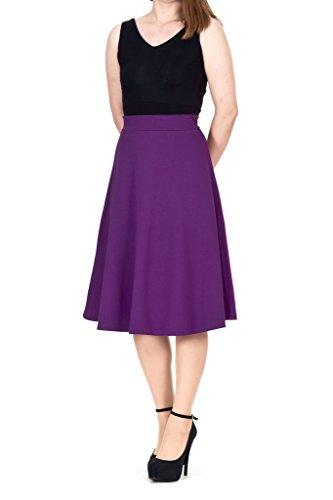 A-line Flared Skater Midi Skirt (XL, Purple) (Cotton Unlined Skirt)