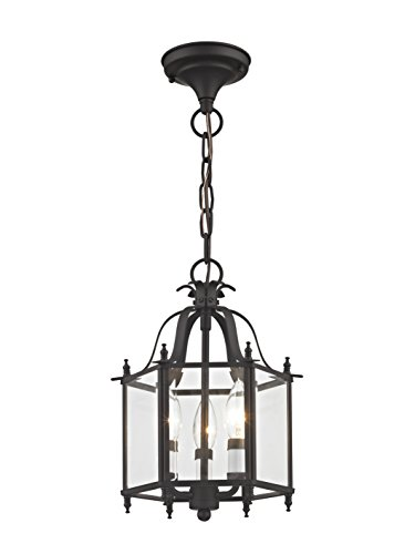 Livex Lighting 4403-07 Home Basics 3 Light Bronze Hanging Lantern or Flush Mount Chandelier with Clear Beveled Glass