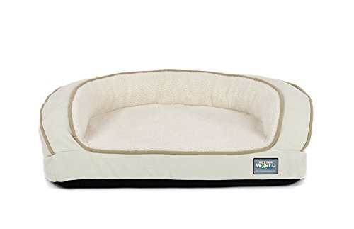 Better World Pets Super Comfort Bolster Dog Bed :: Waterproof Memory Foam Pet Bed with Durable Canvas Cover, Extra Plush Fleece + Foam Bolsters :: 4 Inch Thick, Washable, Small, White Sand by by Better World Pets (Image #1)