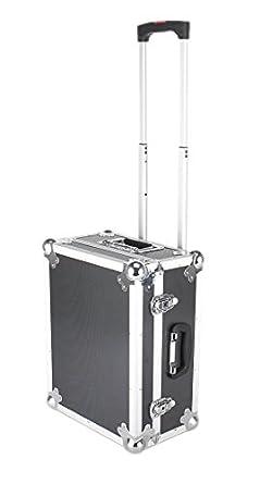 IQE-Storage Transportbox TB-1R mit Rä dern und Teleskop-Griff, LxBxH: 45 x 35 x 21 cm, Schwarz, Transportkoffer mit Aluminiumrahmen, Box, Koffer, Kiste