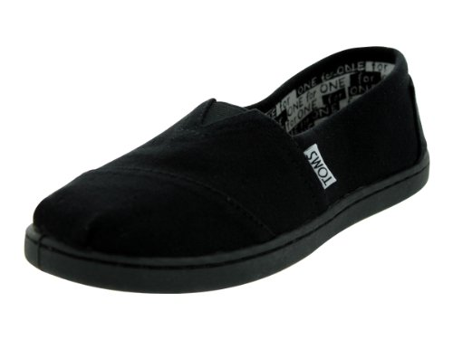 Flat Girls Classic (TOMS Kids Classics (Little Big Kid), Black Canvas 4 M)