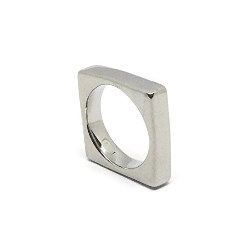 Karana Stainless Steel Classic Square Ring - Silver (8) (Stainless Steel Square Ring)