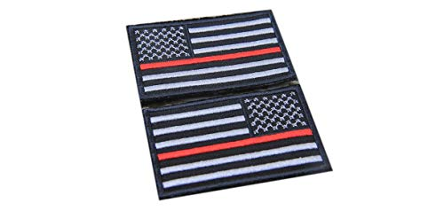 - new brand Firefighter Thin Red Line United States Flag Patch Fire & Rescue EMT EMS SEW-ON ONLY Patch 2 pcs