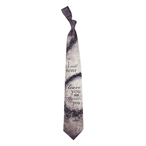 Eagles Wings Men's Finely Crafted Inspirational Necktie - Forsake You Joshua 1:5