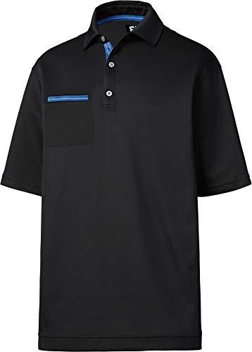 (FootJoy Men's Stretch Pique Chest Pocket Golf Polo (L, Black))