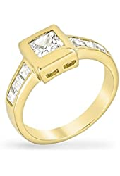 18k Gold Plated Simple Gold Ring Set with Princess Cut Clear Cubic Zirconia in a Goldtone