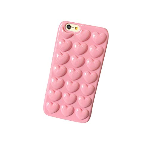 Best Shopper - Love Heart Soft TPU Protection Back Cover with Drawstring Phone Case for iPhone 6/6S Plus - Pink