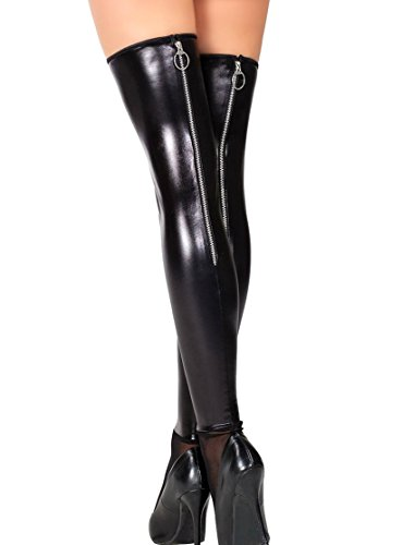 Darque Womens Rubber Look Stockings with Zipper Back Seam (queen-size)