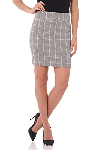 Rekucci Women's Ease Into Comfort Above The Knee Stretch Pencil Skirt 19 inch (Large,Oatmeal Prince of Wales)