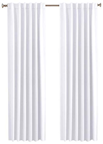 Cotton Clinic Window Curtains 2 Panels White 50x96, Curtains for Bedroom, Curtains for Living Room, Curtains 96 Inch Length - Farmhouse Style 2 Pack Set Cotton Tab Top Curtains